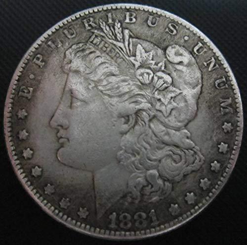 YWJHY Moneda de Cobre 1881 imitación de Plata de dólar Estadounidens