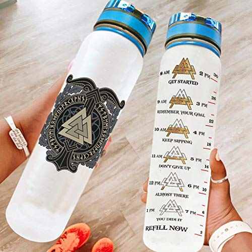 Ftcbrgifk Botella de agua deportiva de 1000 ml vik-ing a prueba de fugas botella de agua moderna para deportes al aire libre con marcador de tiempo motivacional blanco 1000 ml