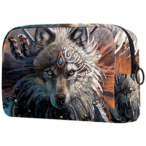 Makeup Cosmetic Organizer for Women Girls Kids 7.3x3x5.1in Wolf Dream Catcher Painting Portable Makeup Bag Travel Cosmetic Bag Pouch Waterproof Travel Makeup Bags