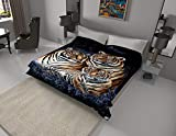 Solaron Original Bengal Tigers Thick Mink Plush Korean Style Super Soft Queen Size Blanket - Blue