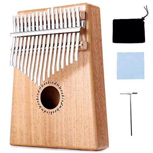 XLNB Kalimba 17 Keys Thumb Piano für Anfänger und Profis, tragbare Mbira Sanza mit Mahagoni-Korpus und Metallschlüsseln, Aufbewahrungstasche, Stimmhammer und Musikbuch