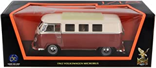 Road Signature 1962 Volkswagen Microbus w/Sliding Sunroof, Red - Lucky 92328 1/18 Scale Diecast Model Toy Car