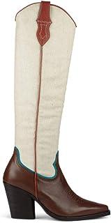 Lemaré Sara, Stivale texano Donna, Pelle Marrone e Tessuto Bianco, Tacco 90 mm