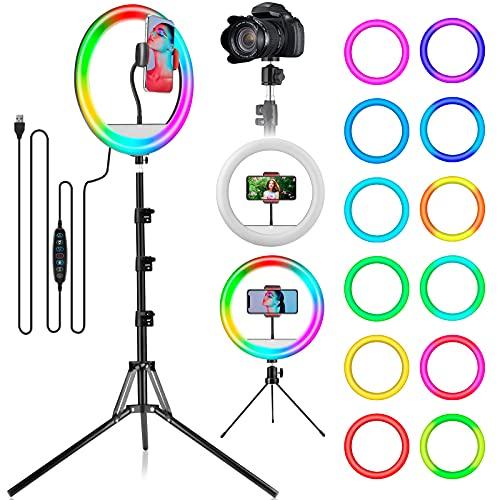 """LAVKOW 12"""" RGB Selfie Ringlicht, LED-Ringlicht 3200–6500 K, mit Stativ und Handy-Halterung für Live-Stream/Make-Up/YouTube/TikTok/Fotografie/Videoaufnahmen/Zoom-Meeting,160cm Bodenständer"""