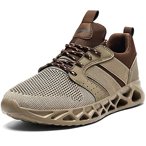 Linenghs Mens Running Tennis Athletic Sneakers Gym Walking Fitness Shoes Lightweight Breathable Casual Non Slip Brown