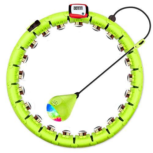Smart Hoola Hoop Abnehmen Geräte Intelligenter Einstellbarer Breiter, Massage und Fitness 2 in 1, 24 Knoten mit Ball, für Kinder/Erwachsene/Anfänger Gewichtsreduktion Schlanke Taille (Grün)
