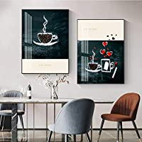 素敵なコーヒーポスターKithcen抽象壁アートキャンバス絵画リビングルームのインテリアの印刷写真-60x90cmx2フレームなし