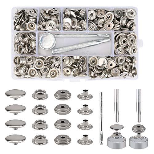 Maxjaa 75 Set Snap Fasteners Kit, 300 Pezzi Bottoni a Pressione Metallo Automatici Vite 15mm Snap Button con Kit di Attrezzi d'Installazione per Pelle/PU/Tende/Tessuti di Jeans/Artigianato