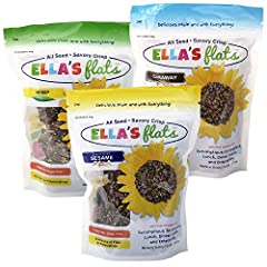 3 Bags 6.5oz zip-lock resealable stand up pouches with tear notch for easy opening – 1 Bag each of ORIGINAL SESAME (5 net carb per serving), CARAWAY (3 net carb per serving), and HEMP (1 net carb per serving) FLAVORS / 8 servings per pouch NOTE: ELLA...