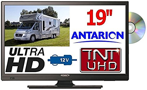 "TV19DVDB - TÉLÉVISEUR Camping Car Camion Fourgon LED 18,5"" 47cm TNTUHD ULTRAHD 220V 24V 12V ANTARION"