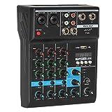 Wobekuy Mezclador profesional de 4 canales, mezcla de audio, consola DJ con efecto reverberación para karaoke, de casa, USB, Live Stage KTV