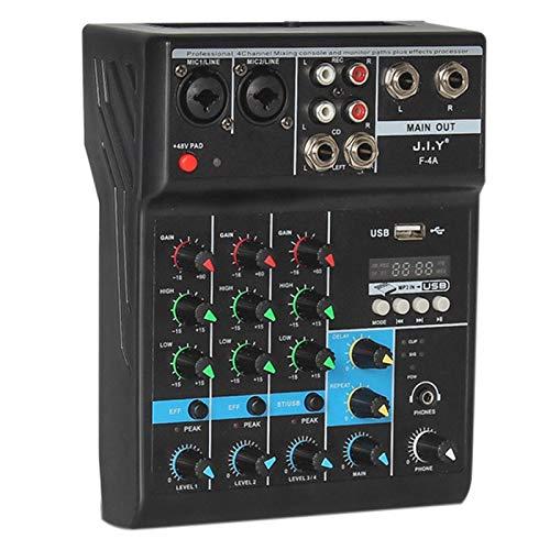 Gaetooely Mixer Professionale A 4 Canali Mixaggio Audio Console DJ con Effetto Riverbero per Karaoke da Casa USB Live Stage KTV