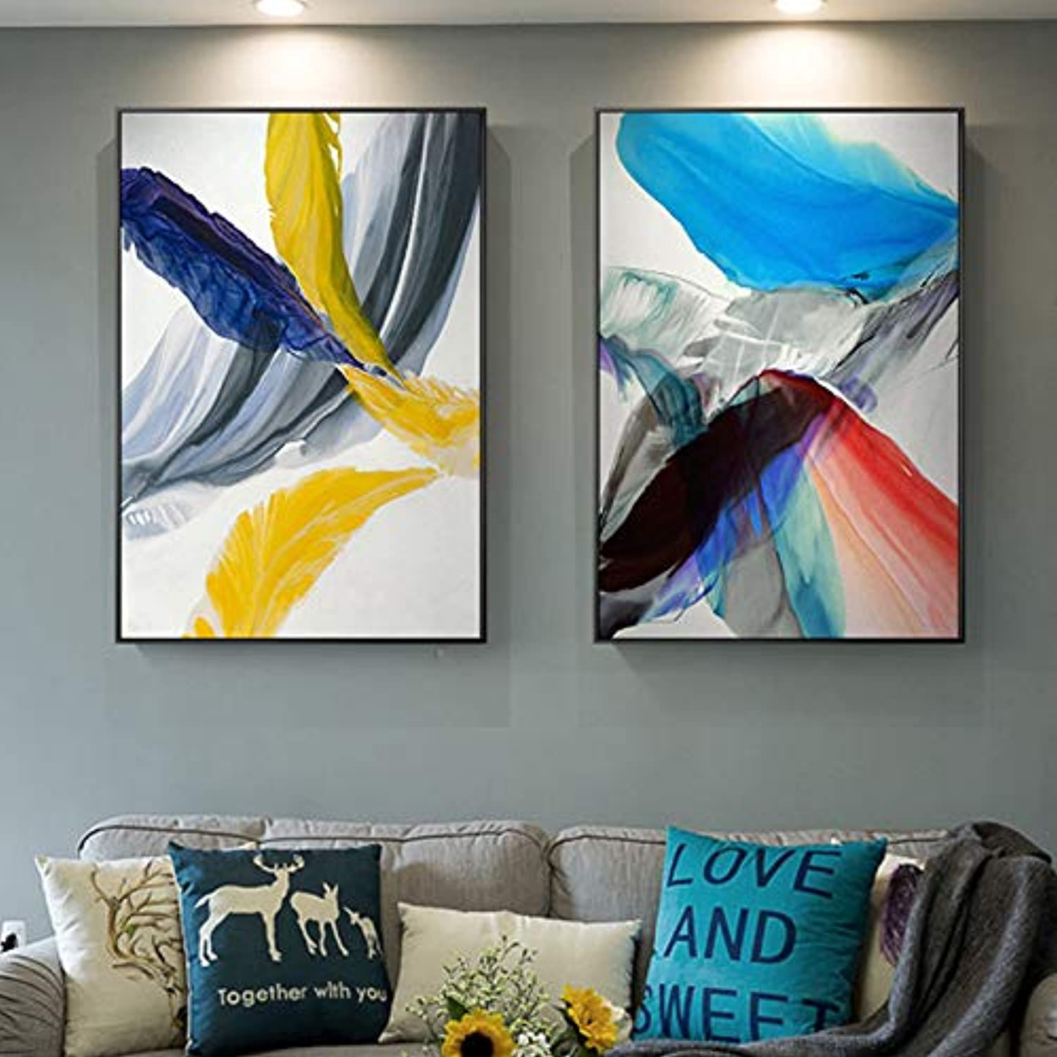 W15Y8 Modern Abstract colorful Feather Canvas Art Paintings For Living Room Bedroom Posters And Prints Wall Poster Affiche Home Decor50Cmx80Cmx2Pc No Frame