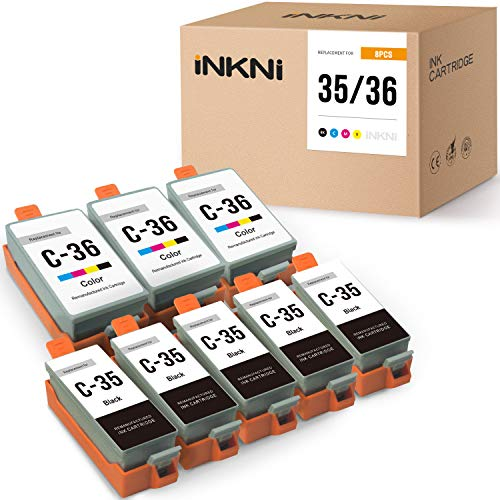 INKNI Compatible Ink Cartridge Replacement for Canon PGI-35 CLI-36 for Canon Pixma iP110 Pixma iP100 Pixma Mini260 Pixma Mini 320 Pixma TR150 (5 Black 3 Color, 8 Pack)