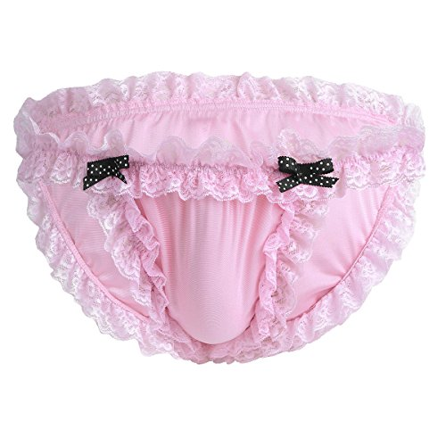 iiniim Herren Slips Sissy Bikini Briefs Unterwäsche Satin&Spitze Männer Tanga Schlüpfer Panties Unterhose M-XXL Rosa XXL
