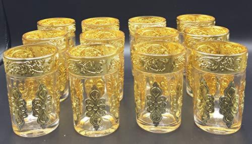 SL 12 Vasos de Cristal para Té marroquí (Dorado)