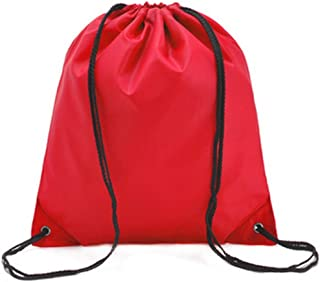 Bullidea Drawstring Bag Waterproof Solid Color Shoulder Backbag Gym Folding Bag for School Travel Or Sport(Red)