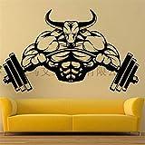 Wandaufkleber Fitness Hantel Kreative Bull Devil Fitness Hantel Heben Home Decor Gym...