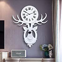 YBB-YB 時計 掛け時計 置き時計 白色樹脂材質アルミ針時計パーソナライズされたファッション鹿時計時計ミュートサイズ57センチメートル* 70センチメートル絶妙 連続秒針 静音