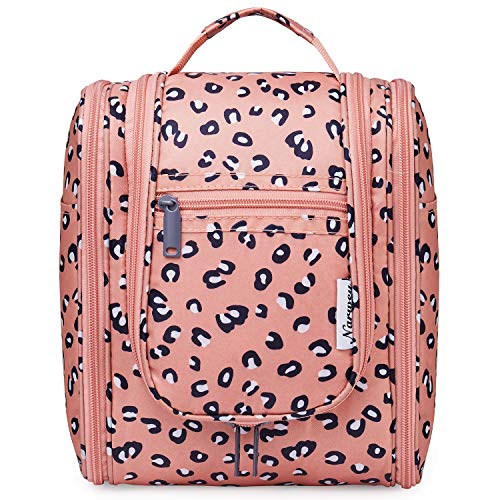 Hanging Travel Toiletry Bag Kit Cosmetic Makeup Organizer for Women and Men (Leopard)