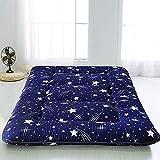 LIMIAO Colchón de futón con Estampado de Cielo Estrellado Azul Marino, Piso Enrollable Plegable para niños y niñas,...