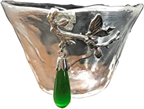 Tumblers mugs coffee cup glass Multi-style Selection Of Vintage Wine Glasses Chinese Casual Tea Set Coffee Cup Restaurant Retro Creative Small Cup (Color : Green butterfly pendant, Size : 60ml)