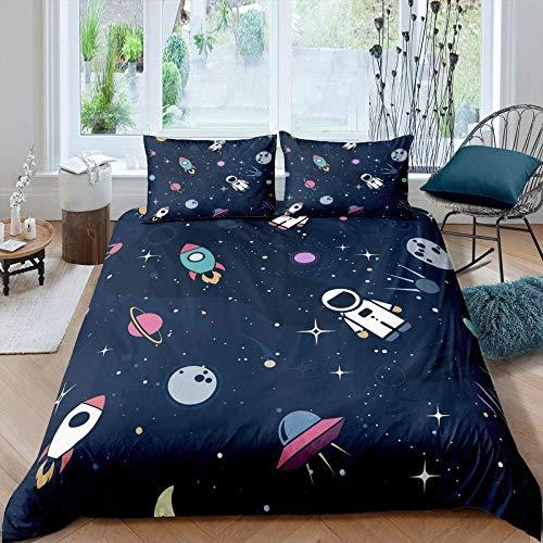 Anvvsovs Printed 3D Bedding Set Single Size 135 X 200 Cm Home Decor Duvet Cover With Pillowcase For Bedroom Decoration Bedclothes + 2 Pillowcase 50 X 75 Cm - Cute Universe Rocket And Astronaut