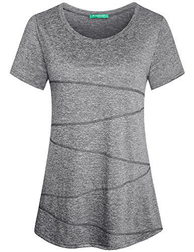 Kimmery Pilates Shirts for Women, Ladies Casual Shirt Tops Wicking Crew Neck Short Sleeve Polyester High Elastic Plain Solid Color Breathable Functional Awesome Work Out Shirt Light Grey Large