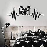 Sala de estar dormitorio decoración de la pared pegatinas de pared pared de moda batería set baterista músico amor amantes del arte pintura de pared estudio de música 57x80cm