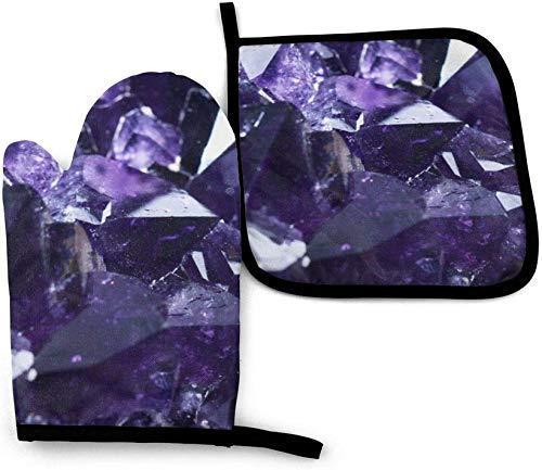 AlineAline Manoplas de horno y soportes para ollas con diseño de cristal morado, resistente al calor antideslizante