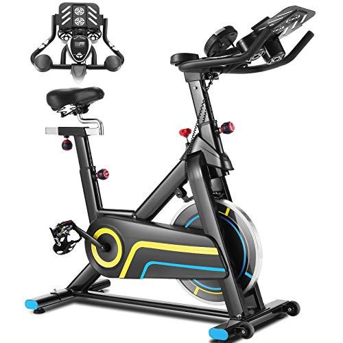 ANCHEER Indoor-Heimtrainer, Indoor Cycling Bike Fitnessbike Mit APP Herzfrequenzmonitor & LCD Monitor, Bequeme Sitzkissen, Schwere Schwungrad Upgrade Version