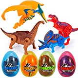 ThinkMax Deformed Dinosaur Toys Set- 4 Pack Educational Dino Figurines ,Dinosaurs World Hatching Eggs Decorations Favors Gift for Boys Girls Kids Teen