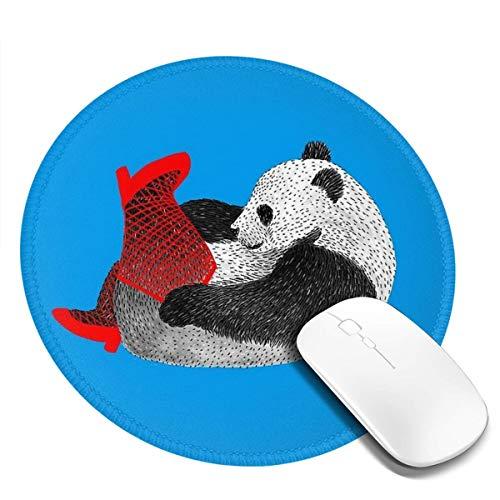 7.9x7.9 In Ronde muismat Bureau Panda Feesten In Rode Kousen En Hoge Hakken Toetsenbord Mat Grote Muis Pad Voor Computer Desktop PC Laptop