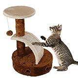 Nobleza - Árbol rascador para Gatos de Dos Plataformas con Cueva y Juguetes Colgantes. Color marrón, 50 cms