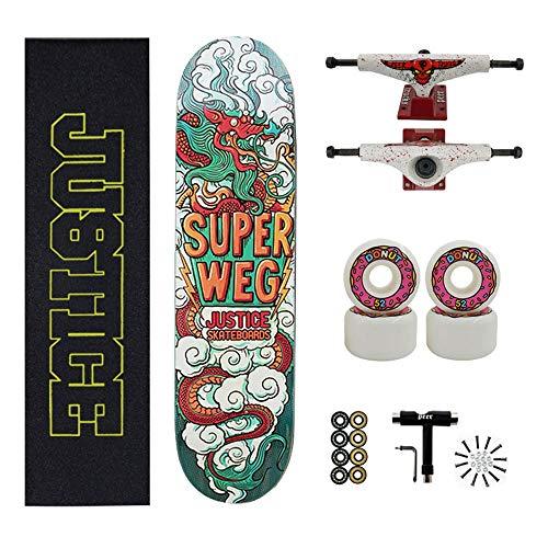 Axdwfd Longboard 31x8 Zoll Doppel-Tritt-Trick Skateboards Cruiser Anfänger Longboard Mit Maple Deck Adult Jungen Auch Mädchen-Skateboard (Color : A)