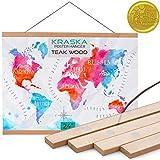 KRASKA - Poster Frame - 24x36, 24x32 Frame Magnetic Poster Hanger, Hanging Wall Art, Prints Picture Painting Artwork Map Scroll Movie Posters, Big Size Wood Frame and Vintage Photo Hanger - Teak Wood