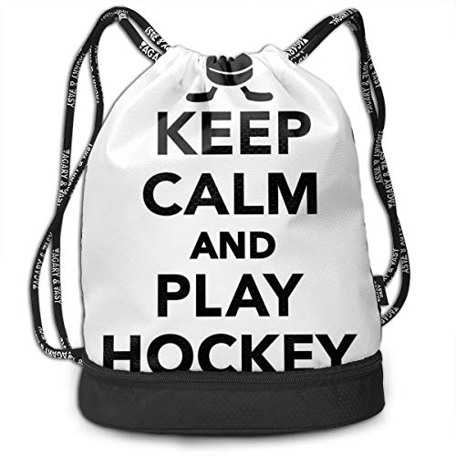 DPASIi Drawstring Backpacks Daypack Bags,Keep Calm and Play Hockey Quote with Sticks In Black and White Competition Sports,Adjustable String Closure