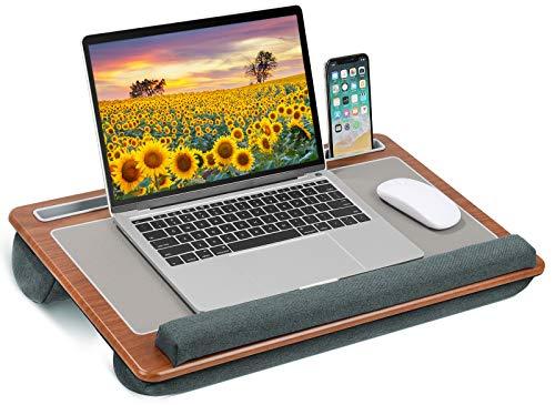 Esyhomi Laptopunterlage für Bett,Laptopkissen mit Mausunterlage & Handgelenkauflage, Laptop Kissentablett für 15-17 Zoll Notebook für Sofa Home Office Studenten