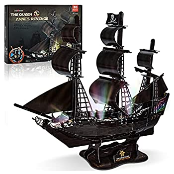 Hicfen 3D Puzzles for Adults Pirate Ship Large Queen Anne's Revenge Nautical LED Model Ship Kit Family Watercraft Building Kits Desk Decor Birthday Gift for Men and Teens 111 Pieces