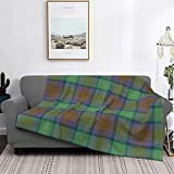 Manta de microfibra ultrasuave para decoración del hogar, manta de franela cálida antipilling para sofá, cama, campamento de 60 x 50 pulgadas, tartán Isla de Skye