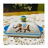 Liangzishop Burriere Dipinte a Mano Piatto di Ceramica Salsa di Burro Piatto, Burro Domestici di Multiuso Burro Scatola con Coperchio