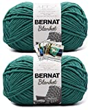 Bernat Blanket Yarn - Big Ball (10.5 oz) - 2 Pack with Pattern Cards in Color (Malachite)