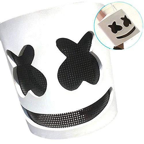 QYWSJ Dj-Maske, Elektronische Silbe Marshmallow Dj-Kopfbedeckung, Rollenspiele Christbaumschmuck Bar Dance Dress Up, Erwachsenenmusik Requisiten (Weiß)