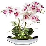 38 cm Artificial Phalaenopsis Flores Arreglo Artificial Orquídea Bonsai en maceta de plata flores falsas orquídeas flor de seda para mesa centros de mesa sala de estar decoración del hogar