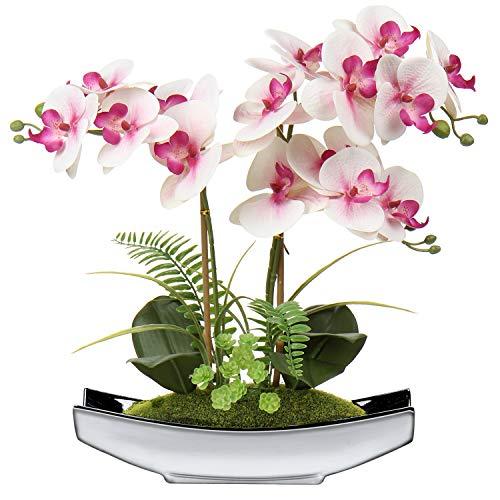 38 cm Artificial Phalaenopsis Flores Arreglo Artificial Orquídea Bonsai en maceta de plata flores falsas orquídeas flor de seda para mesa centros de mesa sala de estar decoración del hogar ⭐