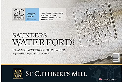 Saunders Waterford Block 300gsm 177 x 254mm (7' x 10') 20 Sheets NOT
