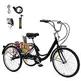 GNEGNIS Bicicleta de 24 Pulgadas Triciclo para Adultos, Bicicleta de 3 Ruedas con Asiento de Respaldo de Cesta Grande, Adecuado para Mujeres y Hombres - Negro