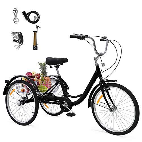 24 Zoll Zahnräder Dreirad für Erwachsene Aluminium Erwachsenendreirad Shopping mit Korb 3 Rad Fahrrad für Erwachsene Adult Tricycle Comfort Fahrrad Outdoor Sports City Urban