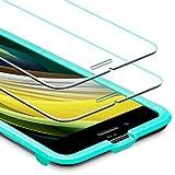 [改進版]ESR iPhone SE ガラスフィルム 第2世代 iPhone SE/8/7用強化ガラスフィルム [簡単貼り付けガイド枠] [ケースと相性バッチリ] iPhone SE/8/7用 高品質強化ガラス液晶保護フィルム [2枚入り] (クリア)