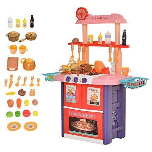 HOMCOM Cocinita de Juguete para Niños de +3 Años Cocina Infantil Juego de rol Incluye 51 Piezas Utensilios con Efectos de Luz y Música 71,5x35x85,5 cm Multicolor